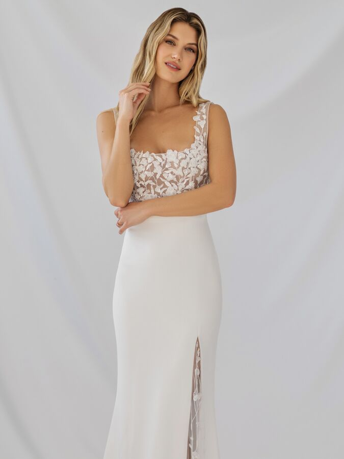 Alexandra Grecco illusion tulle and silk crepe sheath wedding dress