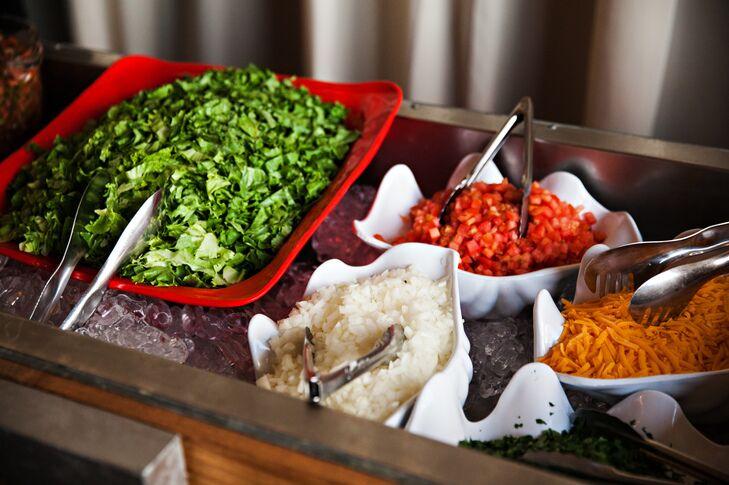 Taco bar at dinner reception