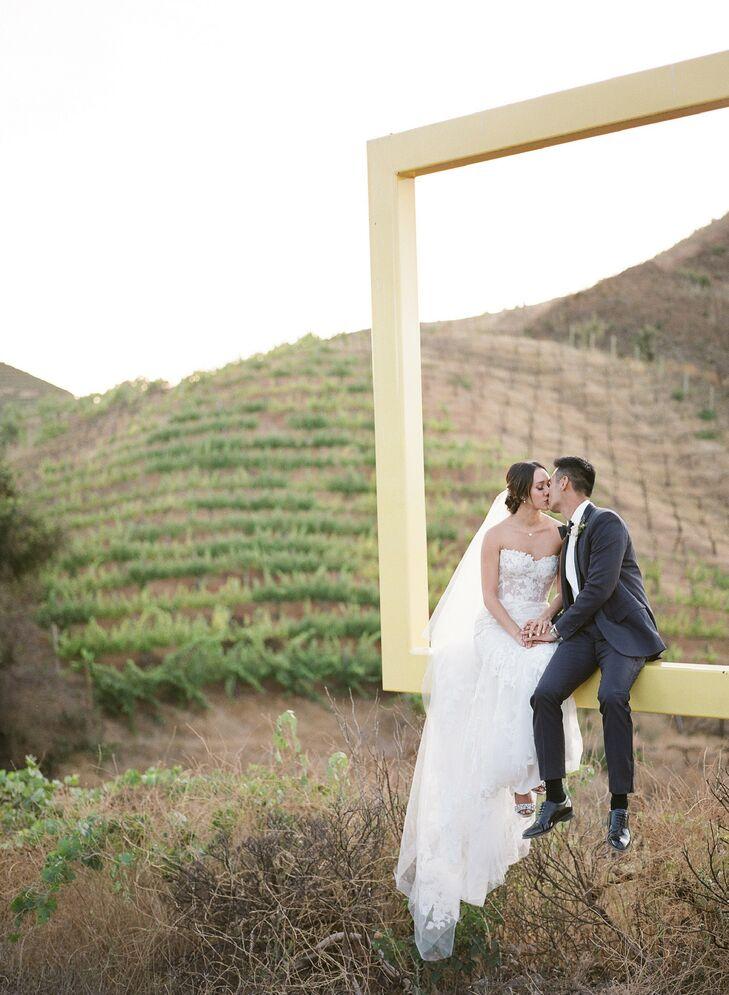 Bride and Groom Portraits at Saddlerock Ranch in Malibu, California