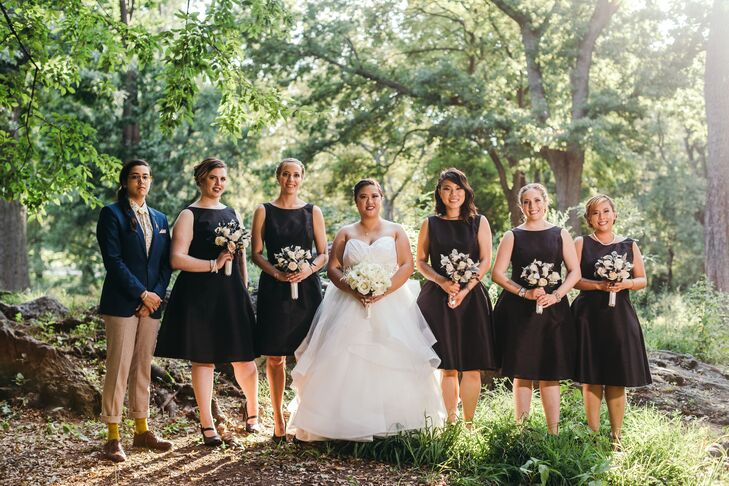 Michelle chose black fit-and-flare dresses from Alfred Sung for her bridesmaids.