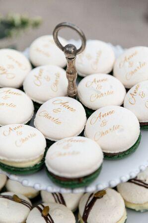 Custom Calligraphed Macarons for Wedding Dessert Table