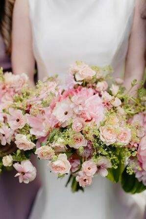 Romantic Pink Rose Wedding Bouquet
