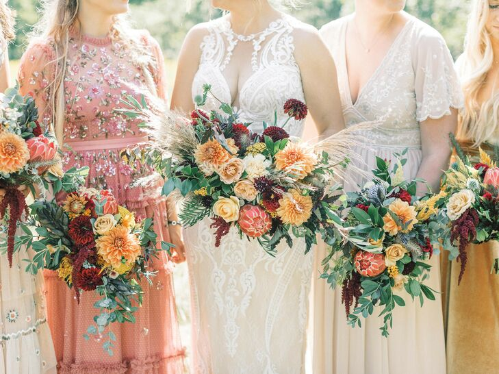 Vibrant Orange-and-Burgundy Bouquets for Michigan Wedding