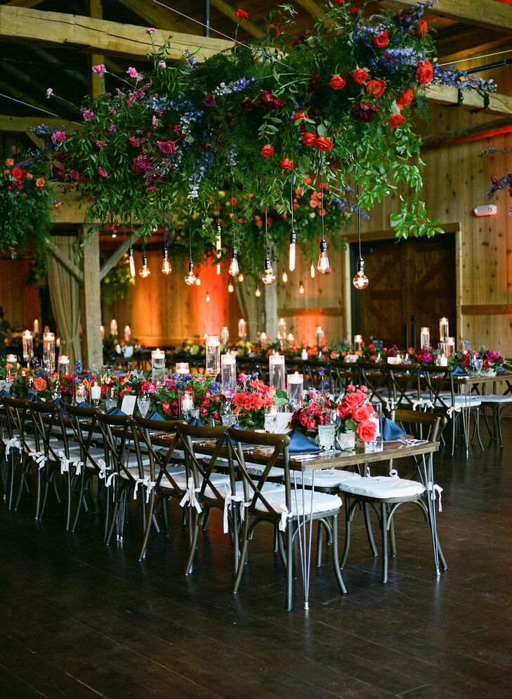 Reception with Hanging Decor at Devil's Thumb Ranch in Tabernash, Colorado
