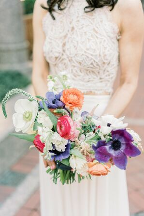 Colorful Bouquet for Elopement in Downtown Boston, Massachusetts