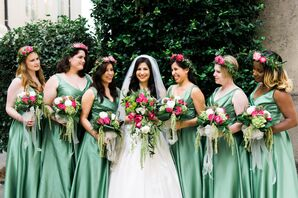 Green Bridesmaid Dresses With Laurel Flower Crowns