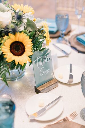 Sea Glass Table Number and Sunflower Centerpiece