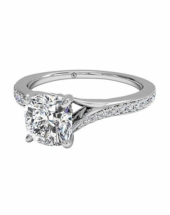 Ritani Cushion Cut Modern Bypass Micropavé Diamond Band Engagement Ring in 18kt White Gold (0.19 CTW) Engagement Ring photo