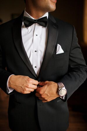 Classic Black Suit With Bow Tie