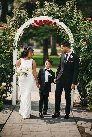 Family Holding Hands During Wedding Portraits  in Sacramento, California