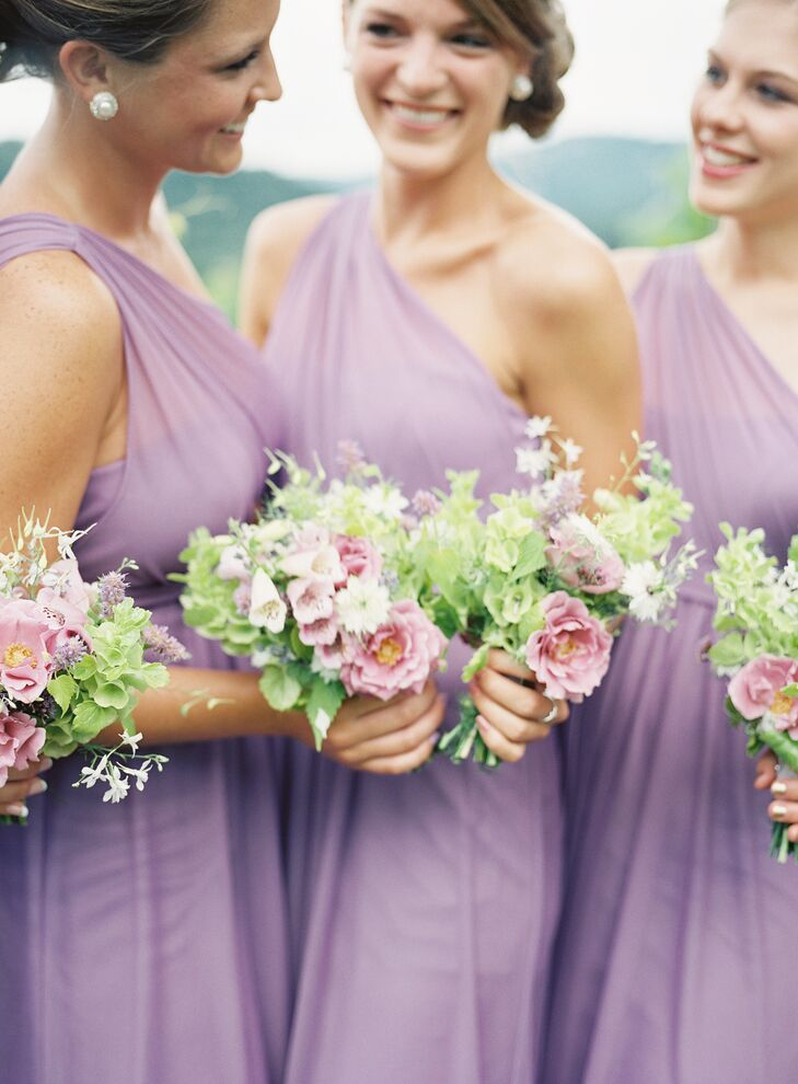 Samantha had narrowed it down to two bridesmaid dresses that she liked and let her girls decide on the wisteria chiffon, one-shoulder dresses from David's Bridal.
