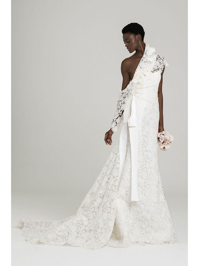 One Shoulder Lace Mermaid Wedding Dress