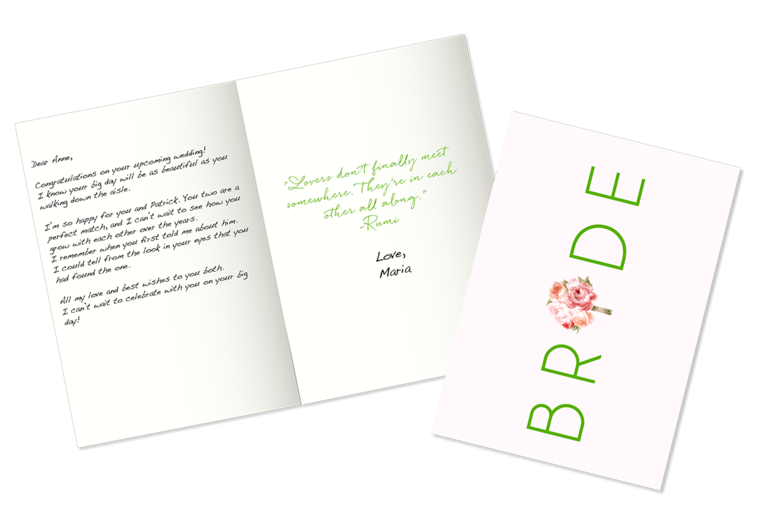 Example of what to write in a bridal shower card