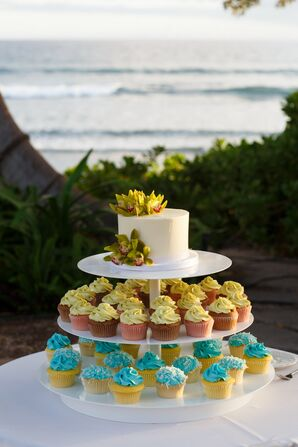 Yellow and Turquoise Cupcake Desserts