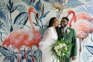 Bride and Groom in Front of Mural Wall on Elopement Day