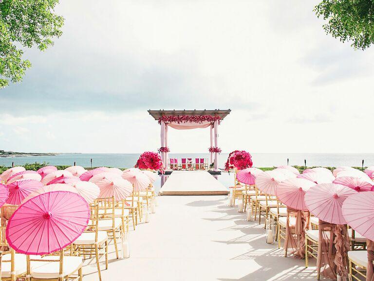 ceremony venue with umbrellas