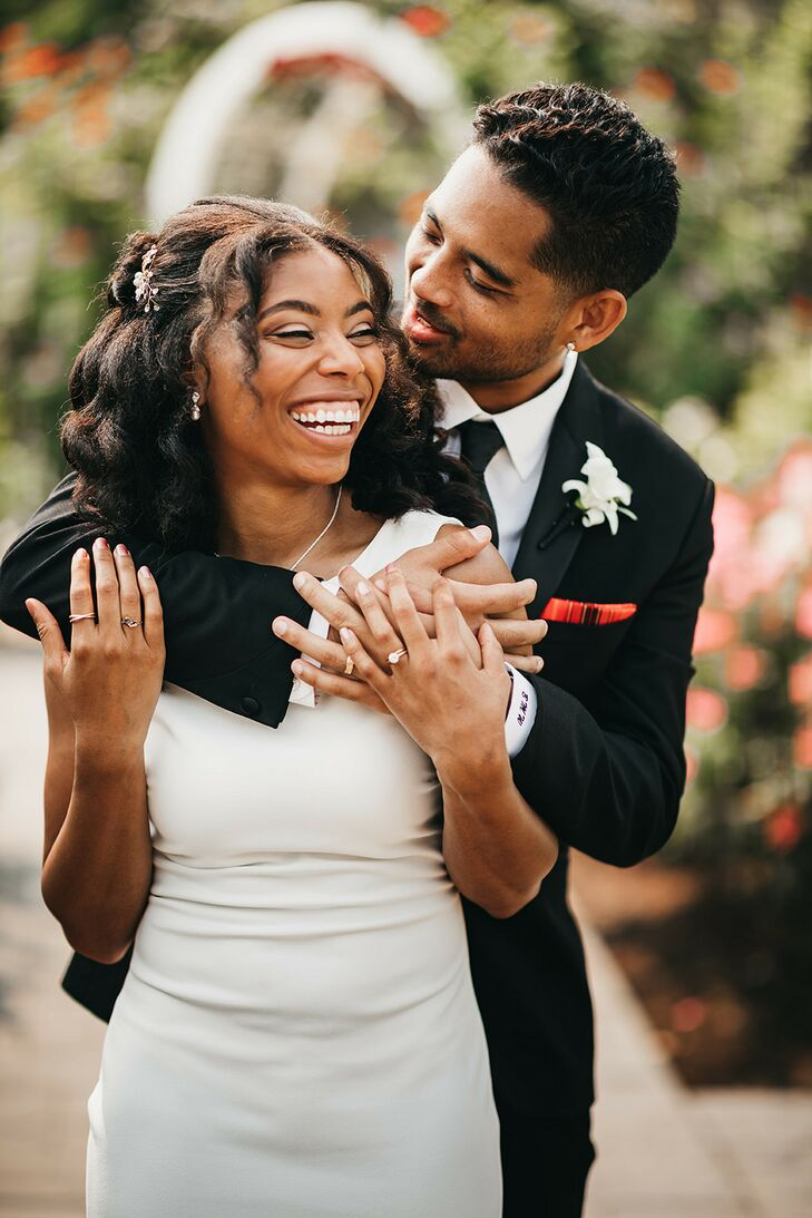 Couple Sharing Hug During Wedding  in Sacramento, California