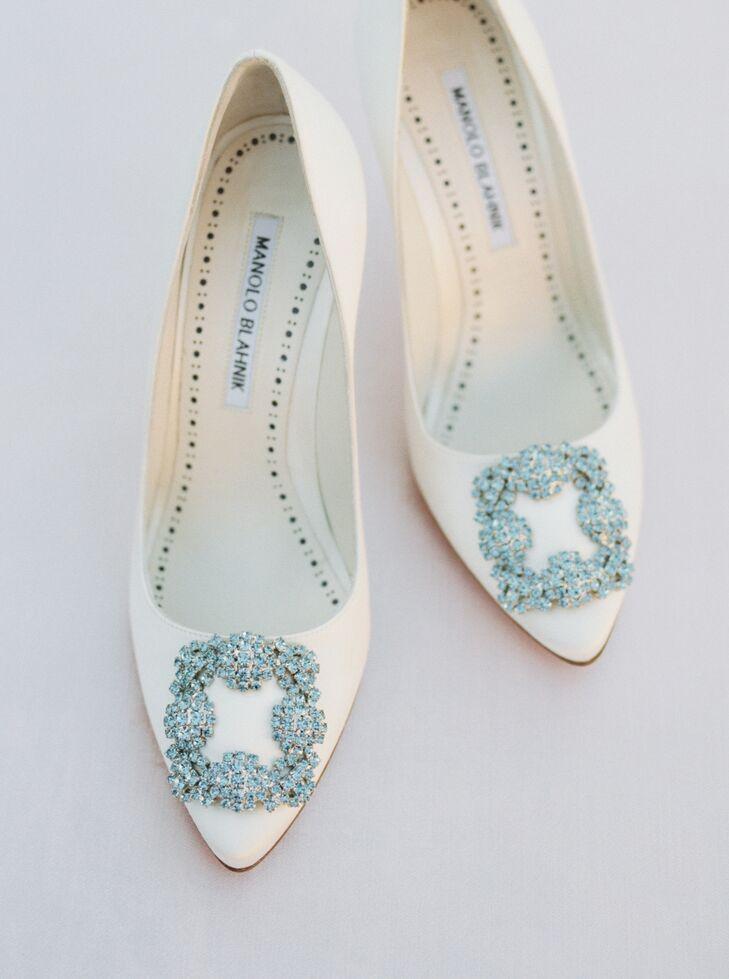 Cream-hued Manolo Blahnik Shoes For Wedding at Kestrel Park in Santa Ynez, California