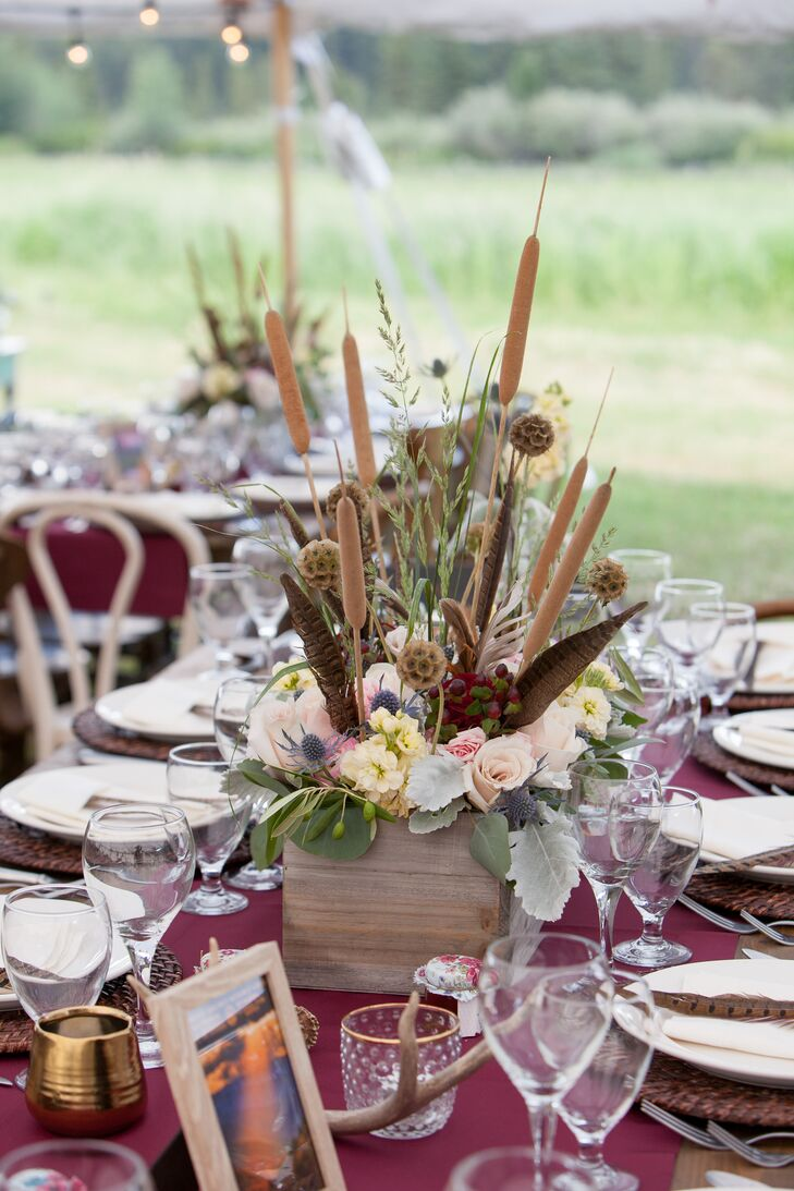 Rustic Thistle and Cattail Centerpieces