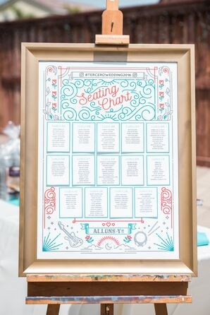 Elegant Turquoise and Red Seating Chart