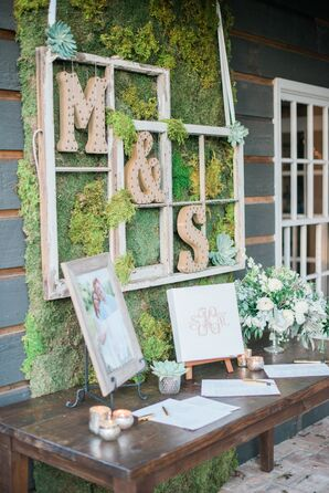 Vintage Moss Guest Book Table Backdrop