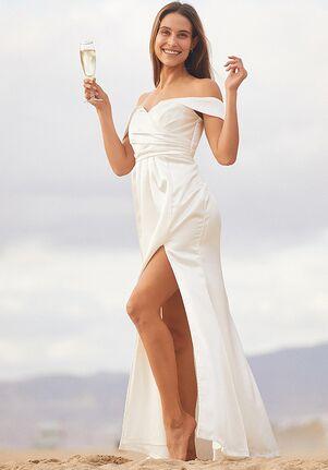 Lulus Pledge My Heart White Satin Off-the-Shoulder Maxi Dress A-Line Wedding Dress