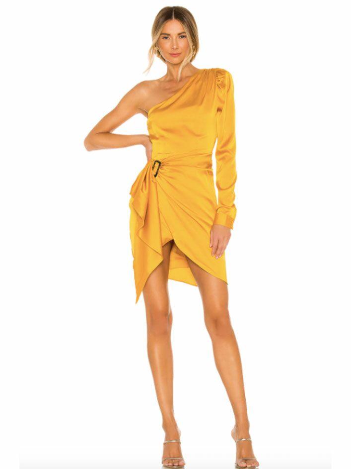 Burnt yellow one-sleeve mini fall wedding guest dress
