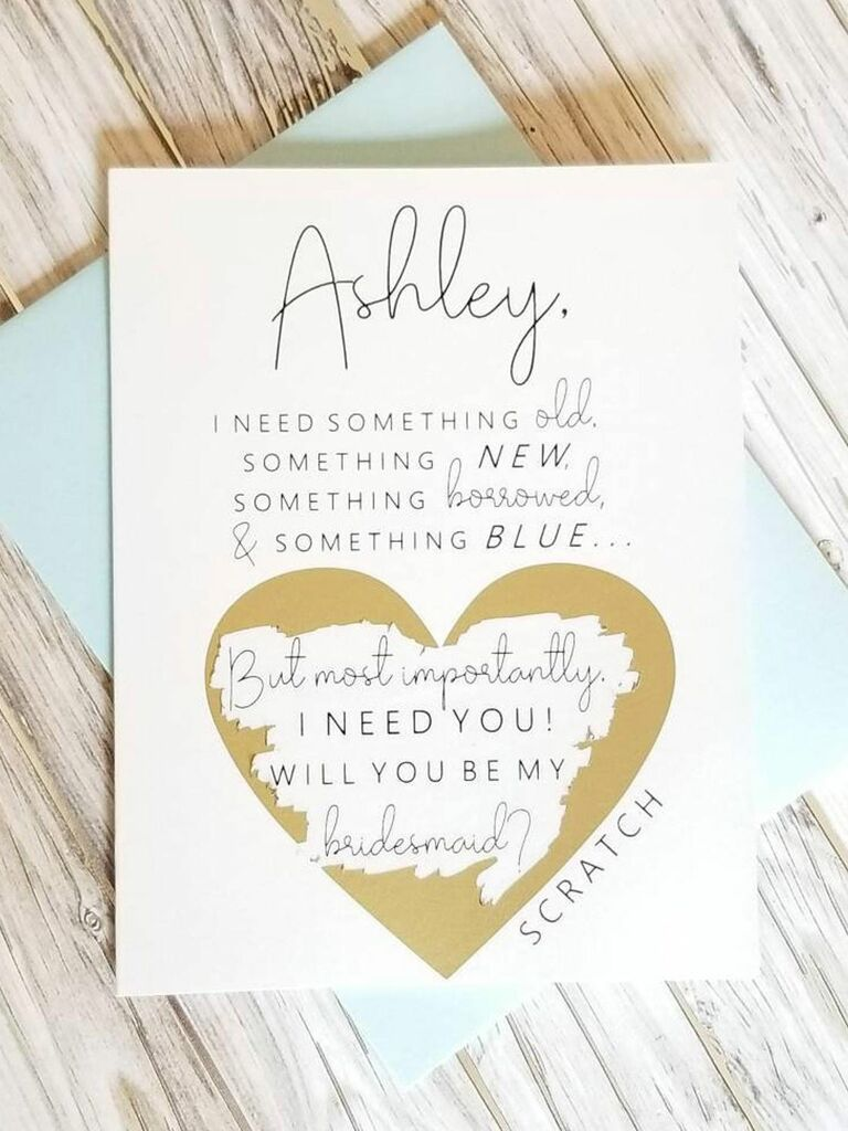 scratch off bridesmaid proposal card with heart