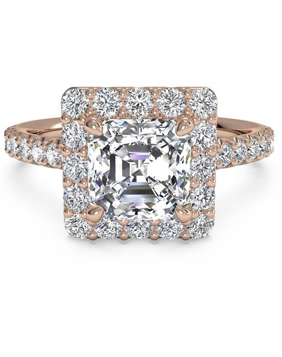 Ritani French-Set Halo Diamond Band Engagement Ring - in 18kt Rose Gold (0.45 CTW) for a Asscher Center Stone Engagement Ring photo