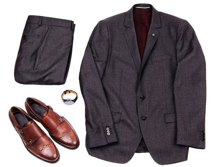 Grey suit brown shoes combination