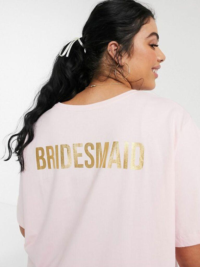 metallic bridesmaid shirt