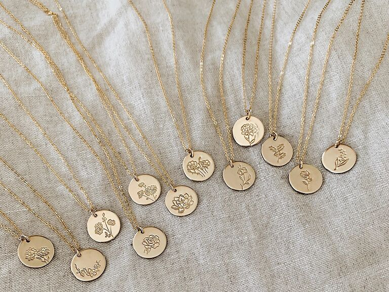 Gold disc birth flower necklaces for each month