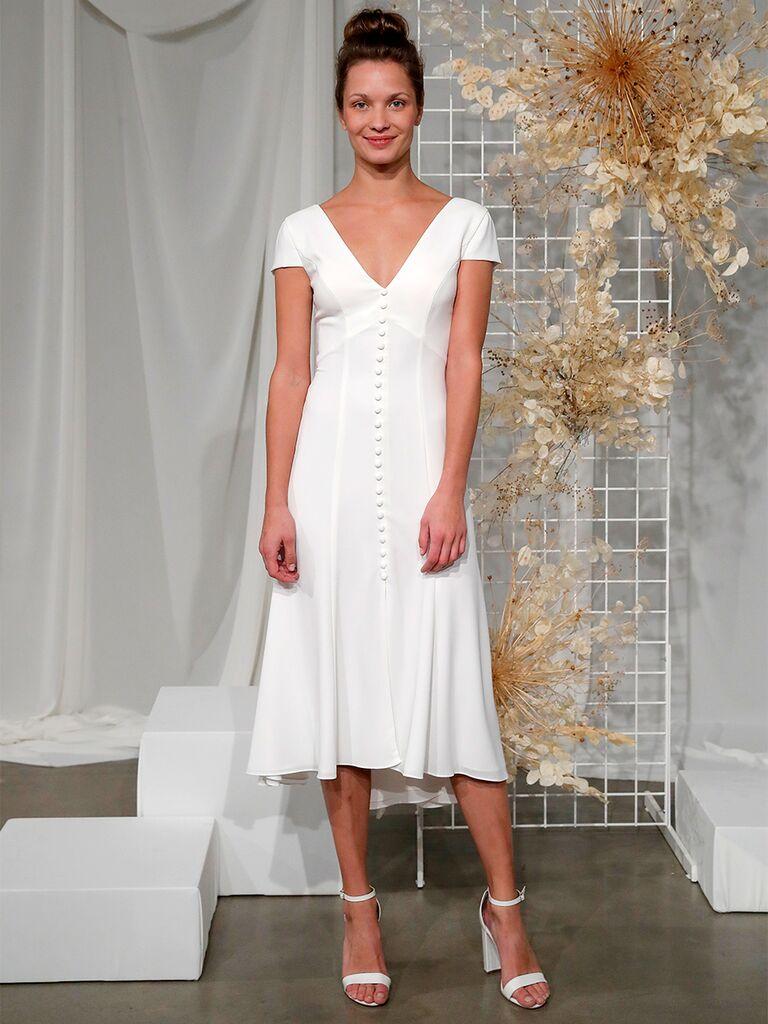 Button Front Midi Wedding Dress