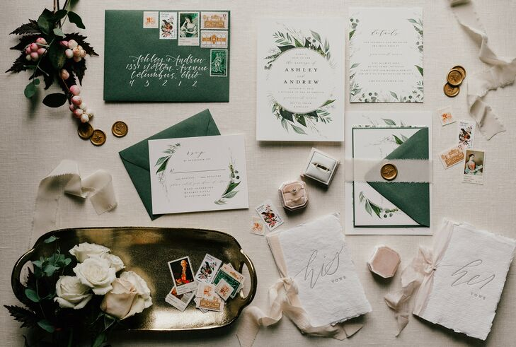 Green-and-White Invitations for Wedding in Western Michigan