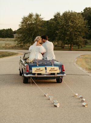 Bride and Groom Take Off in a Vintage Getaway Car