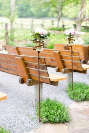 Mason Jar Flower Arrangements in Iron Holders