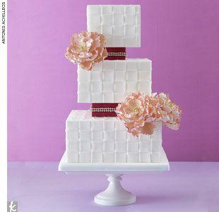 Woven floral wedding cake