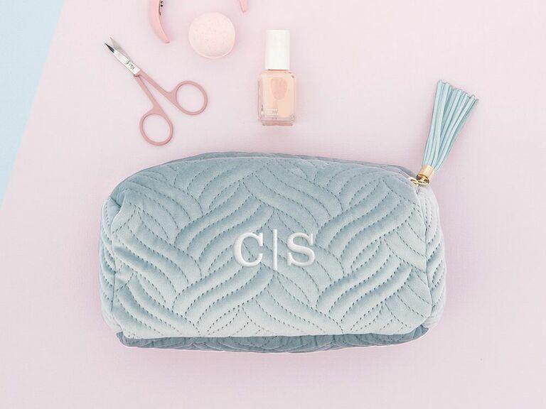 personalized velvet makeup bag