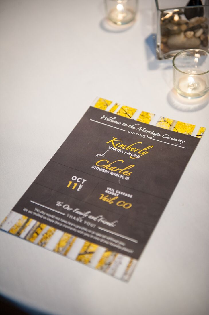"""""""Our invitations were yellow Aspen trees set against a gray background,"""" Kimberly says. """"We decided to stick with our Aspen undertones and make our guests excited about a beautiful Colorado getaway."""""""