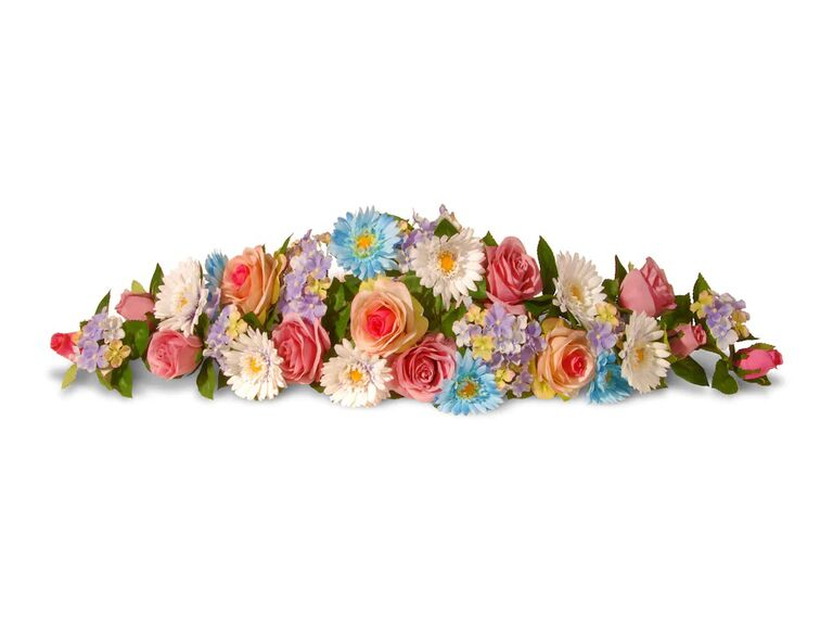 Spring floral garland decoration for wedding car