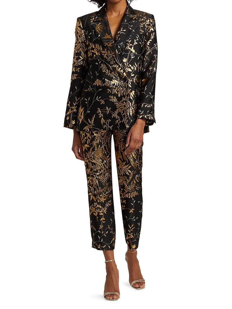 saks fifth avenue black and gold floral mother of the bride pant suit