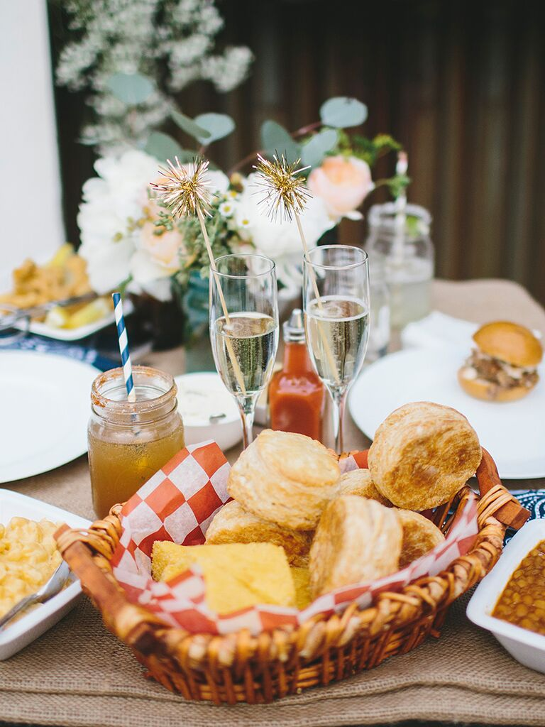 Southern wedding food idea with biscuits and beans