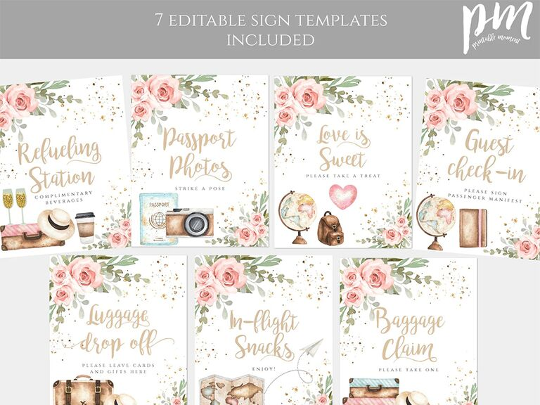 Printables with puns in gold script, pink florals in corner and other travel-related graphics like sunglasses, globe, map and backpack