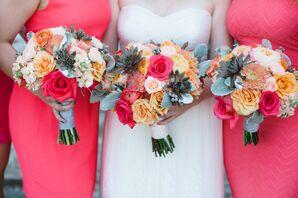 Rose, Ranunculus, Dahlia and Succulent Bouquets