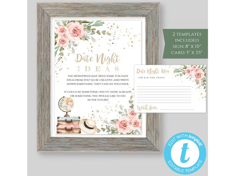 'Date night ideas' in gold script on print and cards with pink floral graphics, globe and suitcases