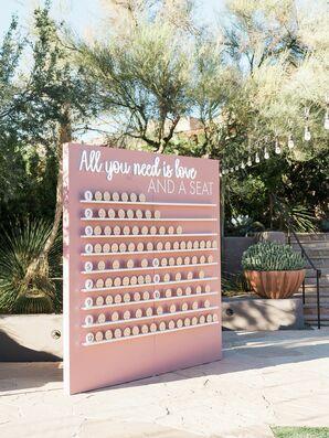 Peach-Hued Escort Card Wall in Scottsdale, Arizona