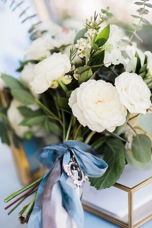 Ranunculus Bouquet Wrapped with Blue Ribbon and Heirloom Brooch