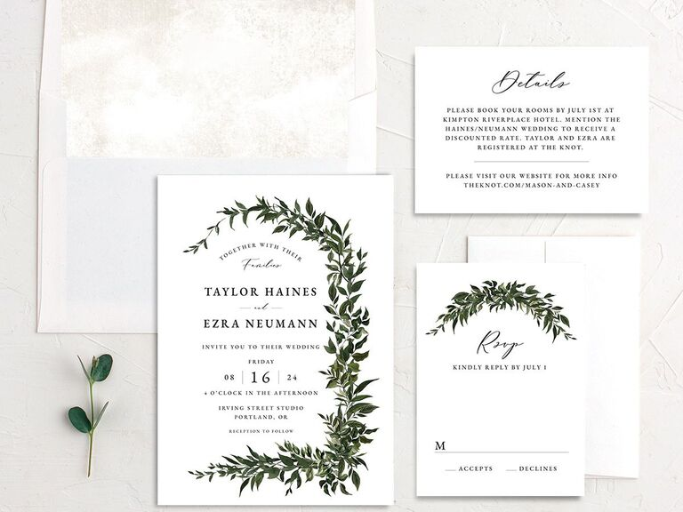 Classic modern wedding invitation suite from The Knot.