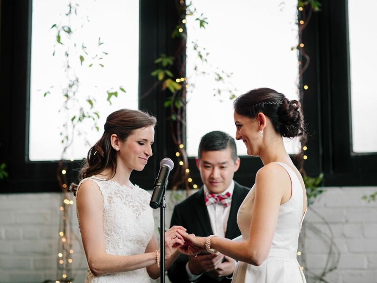 Friend officiating wedding ceremony