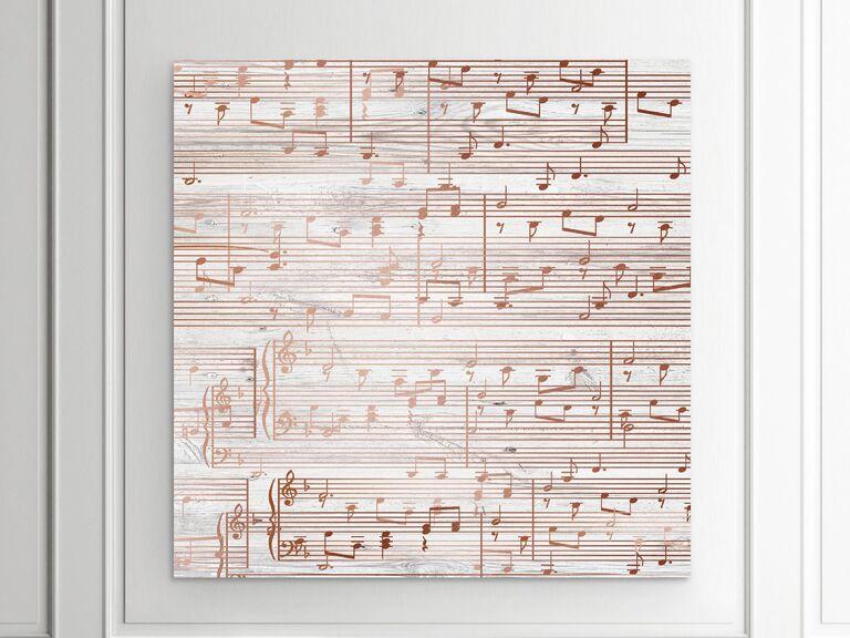 Copped-hued sheet music canvas art